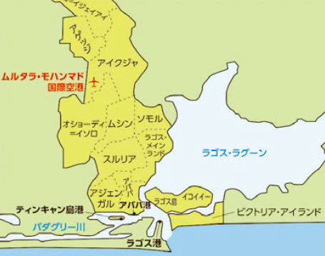 ラゴスの地図 (本土と島)Map of Lagos (mainland and island)